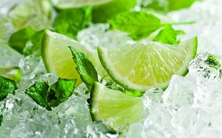 Обои лед, lime, листья мяты, citrus, mint leaves, лайм, цитрус, ice