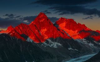 Картинка Alpenglow Over the Glacier d'Argentiere, Sunset, Mountains, French Alps