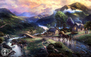 Обои Emeraldvalley, bridge, mountains, озеро, Thomas Kinkade, живопись, lake, valley, горы, river, животные, деревня, animals, horse, art, природа, nature, мост, Томас Кинкейд, paintig, houses, река, дома, dog