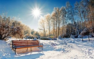 Обои парк, nature, bench, sun, зима, forest, солнце, park, лес, winter, scenery, sunset, cool, скамейка, пейзаж, sky, landscape, небо, snow, снег, природа, nice, white, beautiful