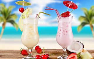 Картинка cocktail, коктейль, fruits, summer, melon, cherries, cocktails, glasses, лето, strawberries, food, coconut