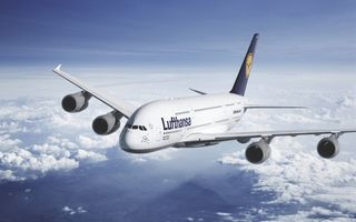 Картинка Lufthansa, Облака, Лайнер, Airbus, Люфтганза, Высота, A380, Star Alliance, Самолет, Пассажирский, Небо