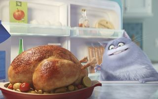 Обои chicken, Illumination Entertainment, family, hunger, treats, refrigerator, drawing, The Secret Life of Pets, Universal Pictures, cinema, tomato, graphic animation, apple, neko, cow, film, comedy, cartoon, official, pet, animal, roast chicken, movie, milk, kitchen, cat, Chloe, Lake Bell, adventure