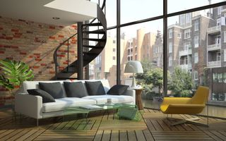 Картинка sofa, modern loft, windows, stairs
