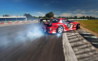 Обои Mazda, Sky, Drift, competition, RX-7, Tuning, Red, Smoke, Sportcar