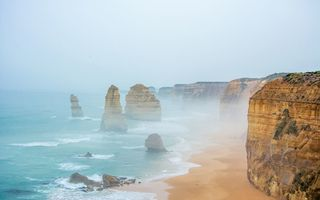 Картинка 12 apostles, Australia, rocks, mist, water, sand, cliffs, sea