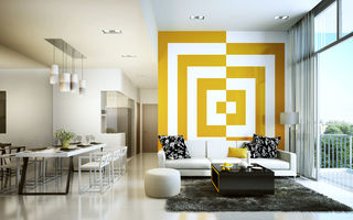 Картинка decoration, living room, yellow, white