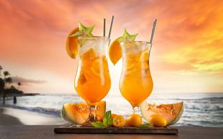 Обои fruit, фрукты, коктейль, beach, drink, summer, fresh, море, sea, cocktail, пляж, tropical, paradise