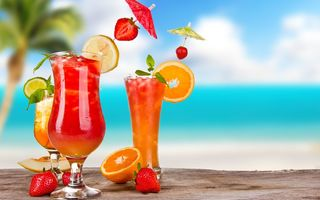 Обои fruit, пляж, tropical, sea, море, коктейль, drink, fresh, summer, paradise, cocktail, фрукты, beach
