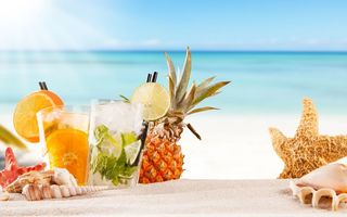 Картинка fruit, cocktail, drink, fresh, paradise, sea, коктейль, фрукты, beach, summer, tropical, море, пляж