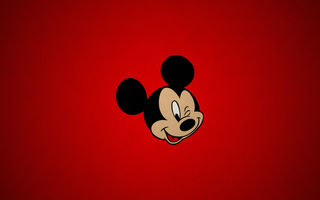 Обои Mickey, cartoon, mouse, texture, red, paper, simple, disney