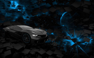Картинка car, black, square, space, planet, blue, rendering