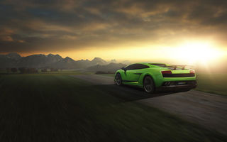 Картинка Lamborghini, Road, Green, LP 570-4, Sunset, Speed, Rear, Gallardo, Superleggera