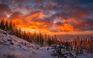 Обои twilight, snow, clouds, dusk, mountains, woodland, slope, winter, sunset
