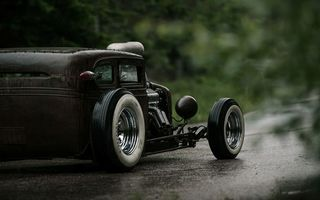 Обои Chevrolet, Rat Rod, 540ci, Chevy, Hot Rod, Мокрая, Дорога, Сзади, V6