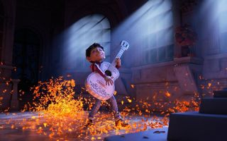 Картинка cinema, animated movie, film, animated film, Gael García Bernal, boy, movie, flower, hana, guitar, Pixar, Coco