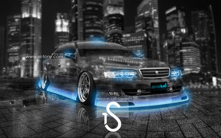 Обои Toyota, Blue, City, Neon, Чайзер, Chaser, el Tony Cars, Тойота, Photoshop, Crystal, Tourer V