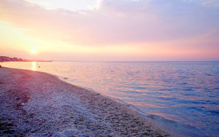 Обои Greece, sea, берег, beach, sunset, Греция, пляж, море, sun, закат