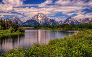 Обои Mount Moran, Wyoming, Grand Teton National Park, Гора Моран, река Снейк, Snake River, Вайоминг, Гранд-Титон