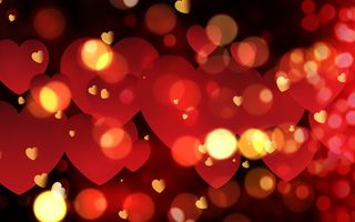Обои сердечки, bokeh, Valentine's Day, romantic, red, love, hearts