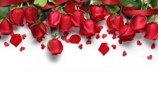 Обои красные розы, love, roses, flowers, red, gift, hearts, сердечки, romantic, Valentine's Day