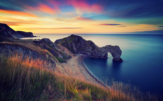 Обои Англия, durdle door, утро, скалы, море, арка