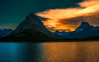 Картинка восход, горы, Glacier National Park, парк, озеро, Grinnell Peak, утро, Montan, sunrise, Swiftcurrent Lake, Монтана