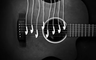 Обои guitar, music, headphones, ipod, notes, sound