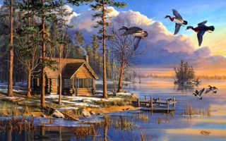 Картинка sunrise, flying, house, forest, painting, ducks, Mary Pettis, Spring Arrivals, spring, lake