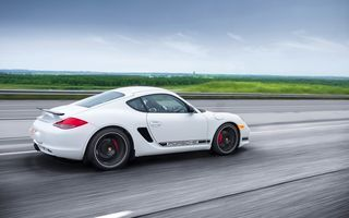 Обои R, rear, Porsche, Cayman, road, white