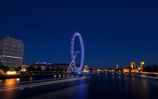 Обои London Eye, столица, England, огни, London, архитектура, Англия, Колесо Обозрения, Великобритания, Лондон, Great Britain, capital, здания, подсветка, вечер, шоссе
