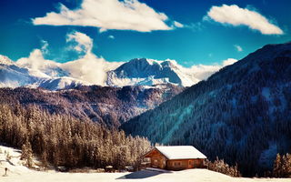 Картинка winter, blue sky, mountains, clouds