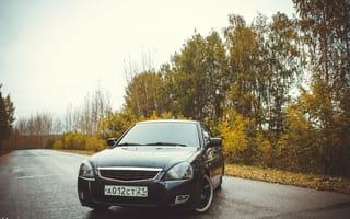 Картинка Чувашская республика, машина, auto, оптика, деревья, БПАН, Приора, ВАЗ, Priora, перед, авто, LADA