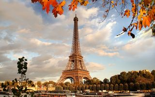 Обои river, осень, France, Paris, autumn, Франция, Париж, Eiffel Tower, cityscape, leaves