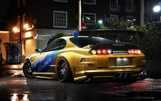 Картинка supra, toyota, lights, yellow, underground