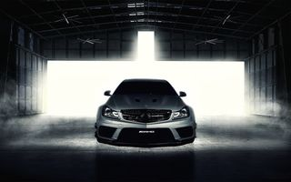 Обои Black Series, мерседес бенц, silvery, C-Klasse, front, серебристый, C63, Fernandez World Photography, ангар, Mercedes-Benz, AMG