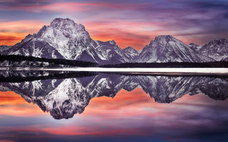 Обои Mt Moran reflection, США, Grand Teton National Park, штат Вайоминг, национальный парк, Гранд-Титон