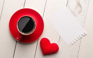 Картинка сердце, кофе, coffee, red, love, чашка, heart, romantic, valentine's day, cup