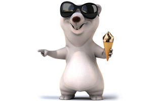 Картинка 3d, funny, ice cream, white bear, медведь, character