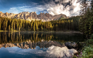 Картинка Karersee, evening light, Alto Adige
