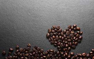 Обои coffee, beans, roasted, зерна, кофе, texture, heart, love, сердце