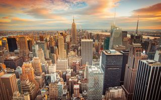 Обои New York City, skyscrapers, USA, Нью Йорк, небоскрёбы, США, downtown, sunset, город, buildings