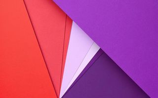 Обои Android 5.0, Triangles, Lollipop, Design, Material, Circles, Red, Angles, Lilac, Lines