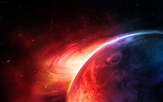 Картинка sci fi, red, planet, blue