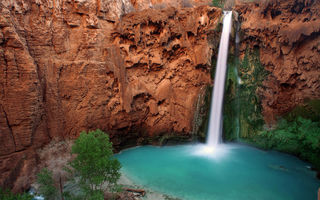 Обои горы, природа, водопад, Hava-sui Falls, Havasupai Indian Reservation, Arizona, река, Grand Canyon