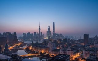 Картинка city, twilight, river, sky, architecture, bay, skyscraper, sunset, sea, China, lights, evening, buildings, Shanghai, cityscape, bridge