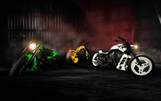 Обои NLC, Bike, Yellow, Motorcycles, Sport, Green, White
