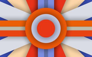 Обои Android, 5.0, Abstraction, Material, Orange, Circle, Colors, Design, Stripes, Lollipop, Line, Blue