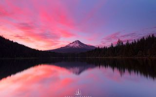 Картинка Kenji Yamamura, закат, Oregon, Mount Hood, photographer, водоём, облака