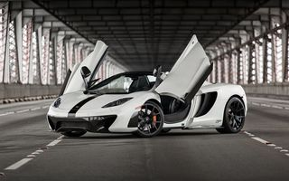 Картинка McLaren, Supercar, British, Bridge, Front, MP4-12C, White